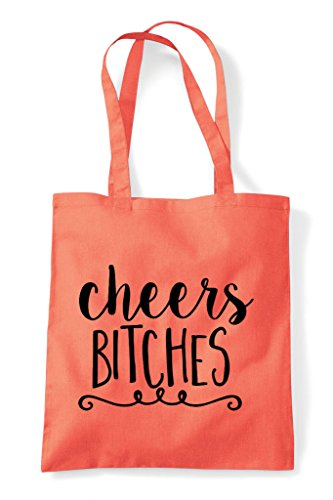Bitches Bag Cheers Statement Shopper Coral Tote SqvPnnfxRd