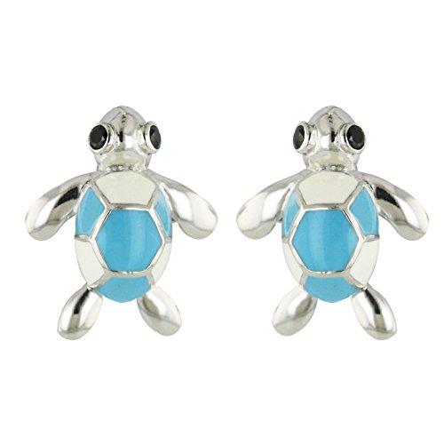 (925 Solid Sterling Silver Enamel Turtle Stud Earrings - Girls,Children,Kids and Women Jewelry)