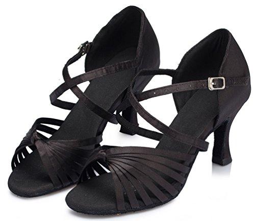 Abby Yfyc-l123 Femmes Latin Tango Salle De Bal Talon Mi-professionnel Chaussures De Danse Satin Noir