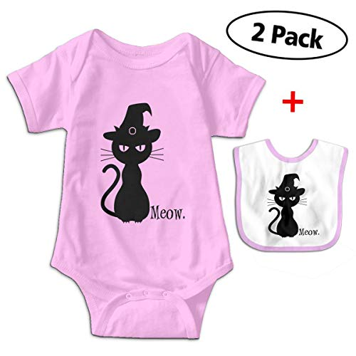 Unisex Baby Cotton Black Cat Halloween Short-Sleeve Cute Baby Clothesoutfit with Bib -