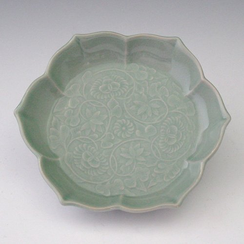 Celadon Green Glaze Arabesque Design Carved in Relief Porcelain Ceramic Pottery Dessert Pie Ice Cream Snack Fruit Serving Side Party Dish - Dish Arabesque