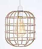 Retro Style Easy Fit Metal Pendant Wire Cage Light Shade, Funky Modern Rustic Industrial Vintage Look, Lampshade (Copper)