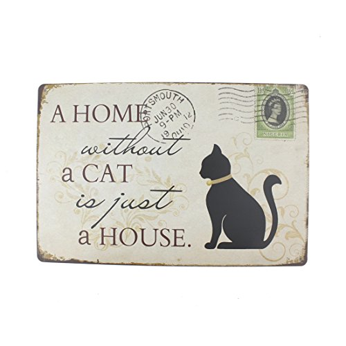 12x8 Inches Pub,bar,home Wall Decor Souvenir Hanging Metal Tin Sign Plate Plaque (A Home Without A Cat is Just A House)