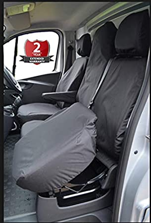 BLUE BLACK FABRIC SEAT COVERS TAILORED FOR VAUXHALL VIVARO 2014 ONWARDS