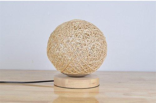 BOKT Minimalist Novelty Romantic Solid Wood Table Lamp for Bedroom Bedside Desk Lamp Home Decor Rattan Ball Lampshade (Beige) by BOKT (Image #2)