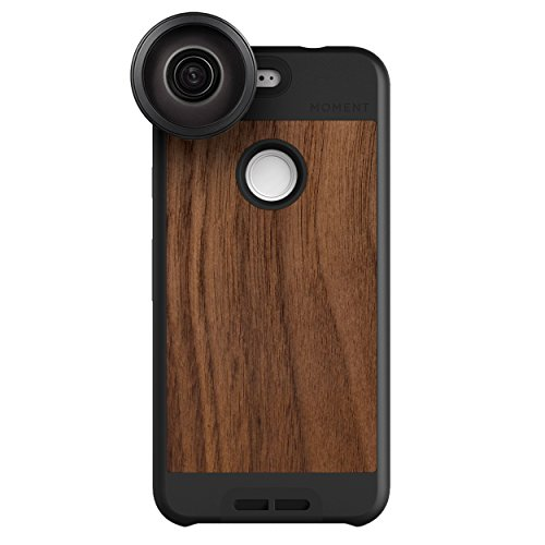 Google Pixel Case with Fisheye Lens Kit || Moment Walnut Wood Photo Case plus Superfish Lens || Best google fisheye attachment lens with thin protective case. by Moment
