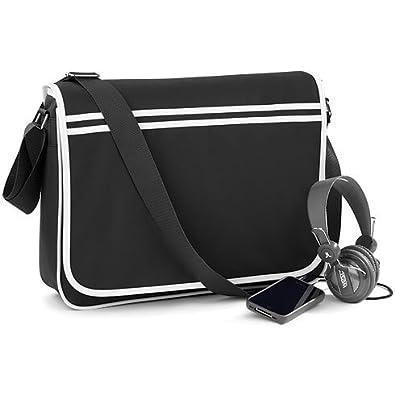 BAGBASE FUNKY RETRO MESSENGER BAG (4 COLS) (BLACK/WHITE): Amazon ...