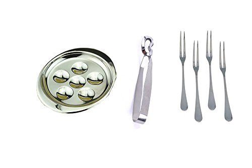 (Stainless Steel Snail Escargot Plate Dishes 6 Compartment Holes Tong 4 Forks Set)