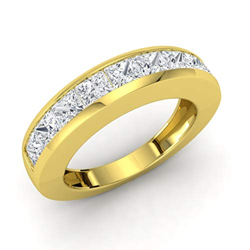 Princess Cut Diamond Eternity Ring - Diamondere Natural and Certified Princess Cut Diamond Wedding Ring in 14K Yellow Gold | 1.41 Carat VS Quality Half Eternity Stackable Band for Women, US Size 6.5
