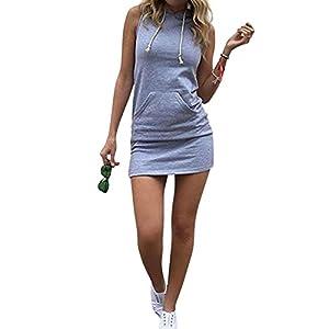 618b13333bc523 Joeoy Women's Casual Drawstring Striped Bodycon Hoodie Dress ...