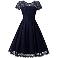 Womens Dress,FUNIC Women Vintage Floral Lace Short Sleeve Dress Party Swing Bridesmaid Dress (Navy, M)
