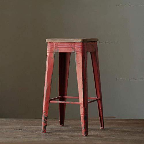 PLLP Sillas de comedor, taburetes, Estilo Inicio Cocina Industrial Pub marco desayuno hierro rustico de la vendimia silla del asiento de madera,rojo,75cm