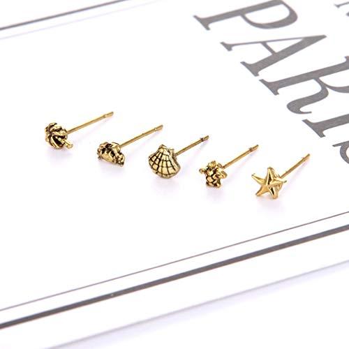 Dolland Super Mini Stud Earring Set for Girs Starfish Shell Crab Turtle Mini Charm Earrings Set Beach Jewellery,Gold (Mini Earrings Starfish)