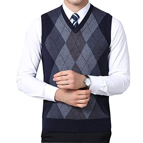 (Flygo Mens Classic Argyle V-Neck Knitted Wool Sweater Vest (Large, Navy))
