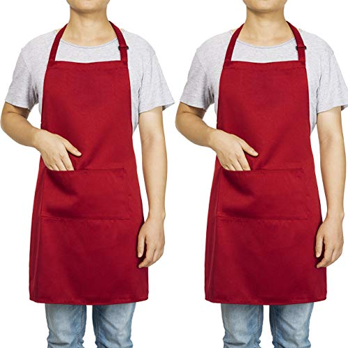 Homsolver 2 Pack Adjustable Bib Apron with 2 Pockets Liquid Drop Waterdrop Resistant Cooking Kitchen Restaurant Bar Apron Black Aprons Chef Apron Unisex Aprons for Women Men (Deep Red, Two Packs)