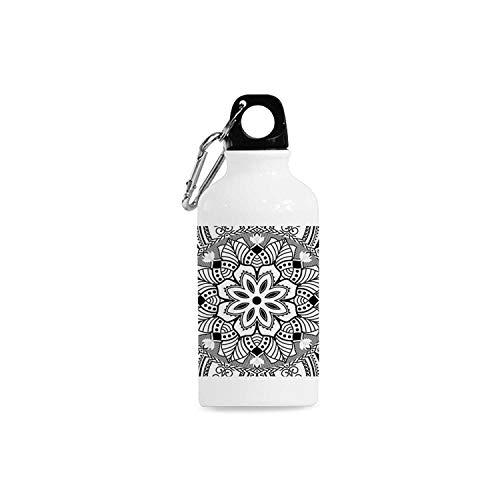 Hitecera Mandala Decor Simple Aluminum Bottle,Ringed Ethnic Floral Pattern with Ornate Tile and Lines Boho Circle Home Art for Sport,2.6