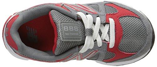 New Balance KJ888V1 Pre Running Shoe, Grey/Red,11.5 M Little Kid