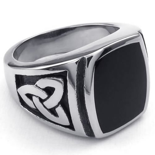 KONOV Mens Stainless Steel Ring, Celtic Knot Signet, Black Silver, Size 10