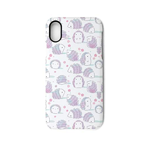 Hiunisyue iPhone X Case hedgehog outline sketch 1 Shock Absorption Technology Bumper Soft TPU Cover Case for iPhone X ()