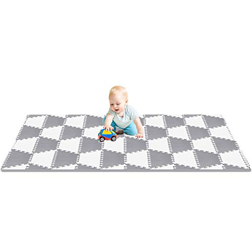 Red Suricata Playspot Foam Hexamat Geo Interlocking Baby Play Mat – Baby Playmat for Kids, Infants Toddlers 79 x 60 or 74 x 63 Foam Floor Play Mat – Patent Pending Ghost White Grey