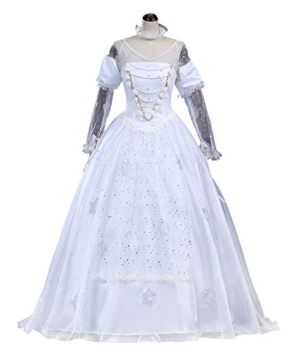 COSBOOM Halloween Women's White Queen Costume Alice in Wonderland Luxury Gown Cosplay Costume (XL) ()