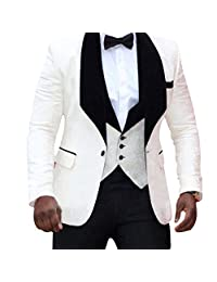 HBDesign Mens 3 Piece 1 Button Black Shawl Lapel Ivory White Pattern Suits