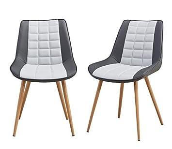 Folkbury Nordic Style Set De 2 Chaises De Salle A Manger Scandinaves Chaises En Metal Chaises Pour Salle A Manger Salon Cuisine Gris Avec La