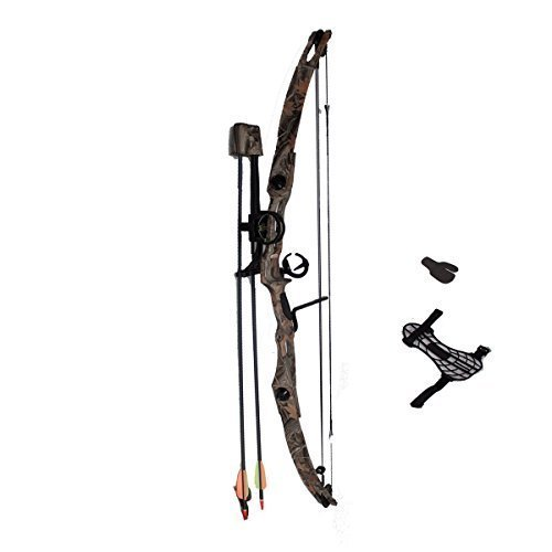 Arm Guard and Finger Tab Twister Arrow Rest SAS Sergeant 55 Lb 29 Compound Bow Package with 3-Pin Sight Autumn Camo Quiver Arrows