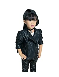 Toddler girls PU leather jacket stand collar trendy outwear spring3-12y