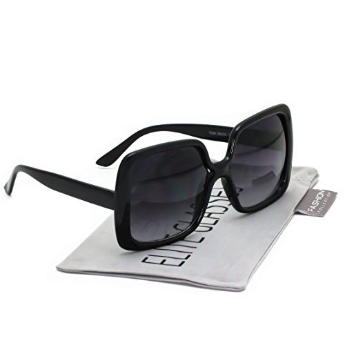 Elite Oversized Square Jackie O Style Sunglasses Bold Vintage Retro Chic Fashion Glasses ()