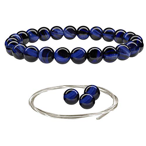Beaded Gemstone Bracelets for Men and Women: Blue Tiger Eye Bracelet with Spare Beads and Crystal Elastic Cord - Mens and Womens Jewelry - 7.25 Inch Stretch Bead Bracelet with -