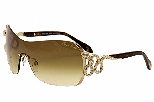 Roberto Cavalli Women's Nusakan 926S 926/S 28F Havana/Gold Rhinestone Snake Shield Sunglasses - Shield Sunglasses S Women
