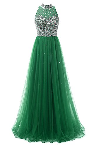 Green Dresses Prom Neck for Evening Callmelady Long Gown Jewel Women Tulle fAX5Tqv