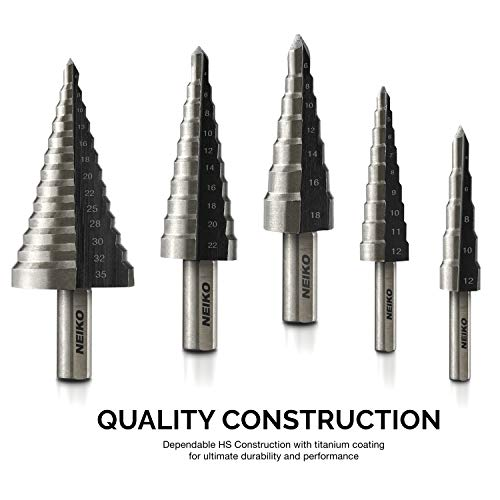Neiko 10169A Titanium Step Drill Bit Set with Automatic Center Punch, 5-Piece | High Speed Steel | SAE | Total 41 Sizes