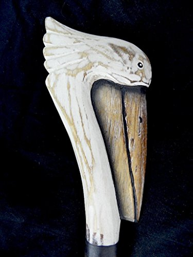 HAND CARVED WOOD PELICAN SEA OCEAN BIRD WALKING STICK CANE ART WHIMSICAL TROPICAL SAFARI by WorldBazzar
