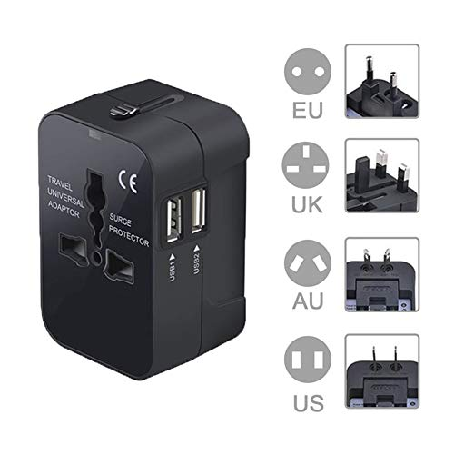 Travel Adapter, XINYUWIN Worldwide All in One Universal Power Adapter AC Plug Converter High Speed International Wall Charger with Dual USB Charging Ports for US EU UK AUS Europe Cell Phone (Black)