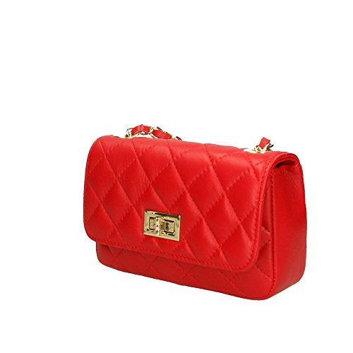 genuino Italy Mujer Made en Aren bolsa Rojo in 19x12x5 hombro Cm de cuero xaxzYSqd