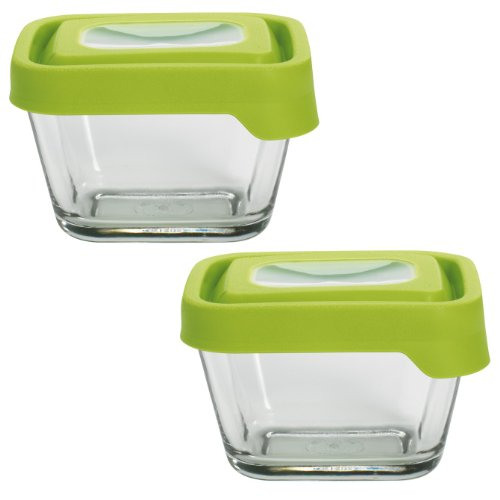 Anchor Hocking TrueSeal Glass Food Storage Containers with Lids, Green, 1 7/8 Cup (Set of 2)