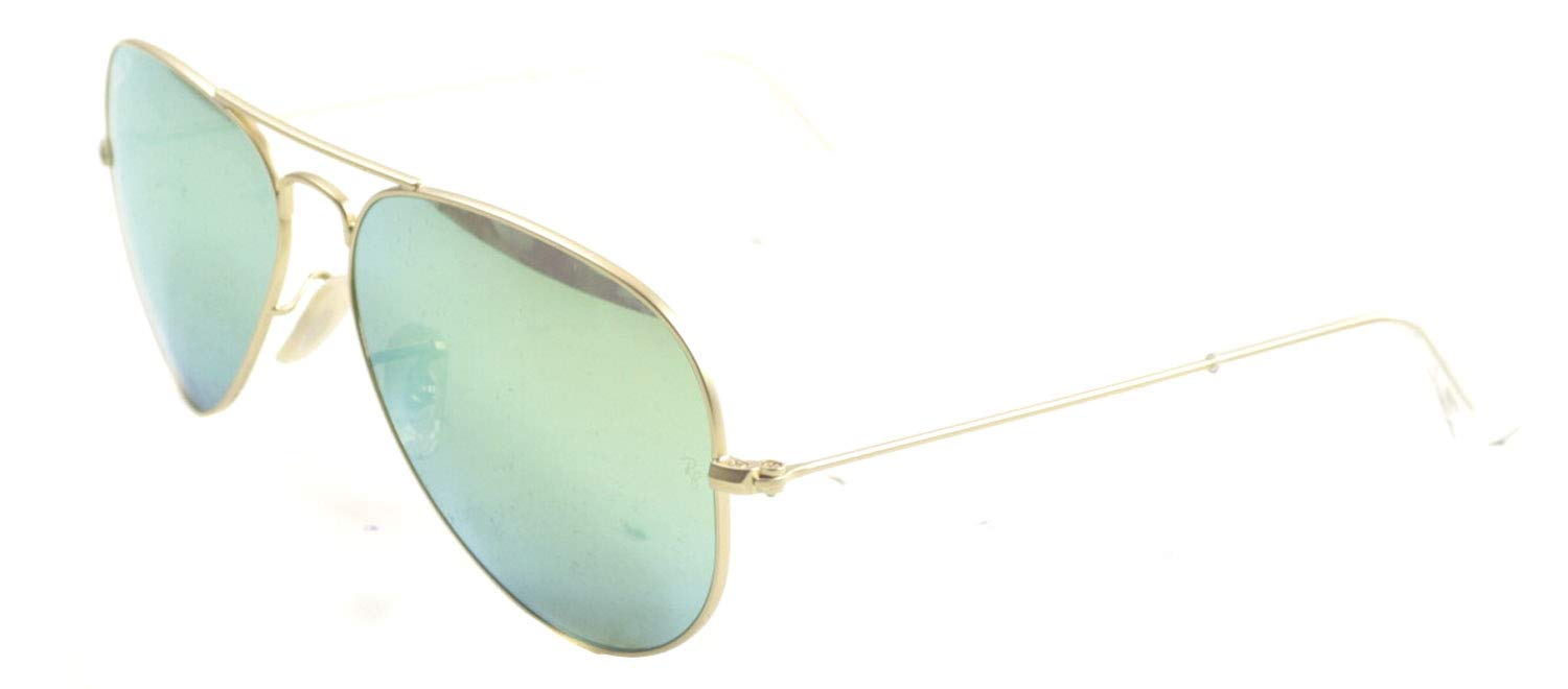 RAY-BAN RB3025 Aviator Large Metal Flash Mirrored Sunglasses, Matte Gold/Polarized Green Flash, 58 mm by RAY-BAN