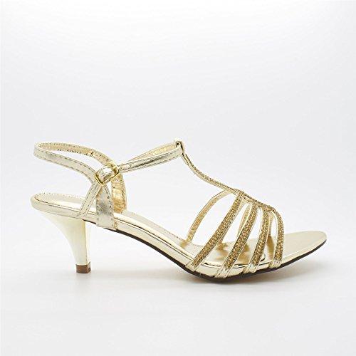 London Footwear Patrice, Women's Diamante Kitten Heel Sandals Gold