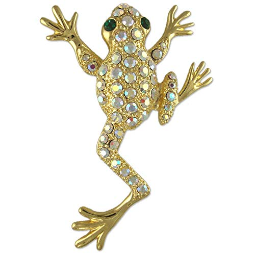 (New Crystal Rhinestone Frog Brooch PIN Made with Swarovski Elements (Gold Plated))