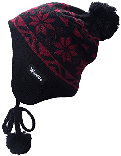 Wantdo Unisex Crochet Snowflake Patterned Beanie Hat with Pom Pom