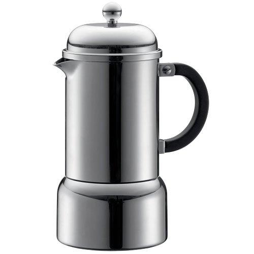 Bodum Chambord Matte Finish Stainless Steel Stovetop Espresso Maker, 12-Ounce, Chrome