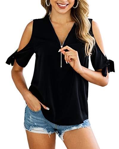 Shoulder Zipper - TOPUSH Women's Cold Shoulder Zipper Front Deep V-Neck T-Shirt Casual Blouse Loose Top Short Sleeve Tee Soild Tshirt (Small, Black)