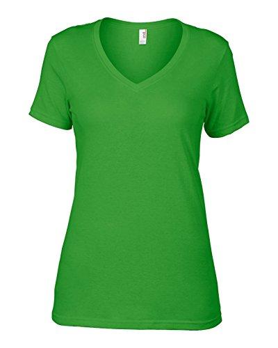 Anvil av123Ladies Camiseta Sheer cuello en V de algodón verde manzana grande