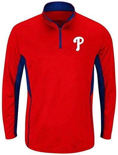 Men's Philadelphia Phillies Big & Tall Check Swing Performance 1/4 Zip Pullover Fleece Sweatshirt 3XL