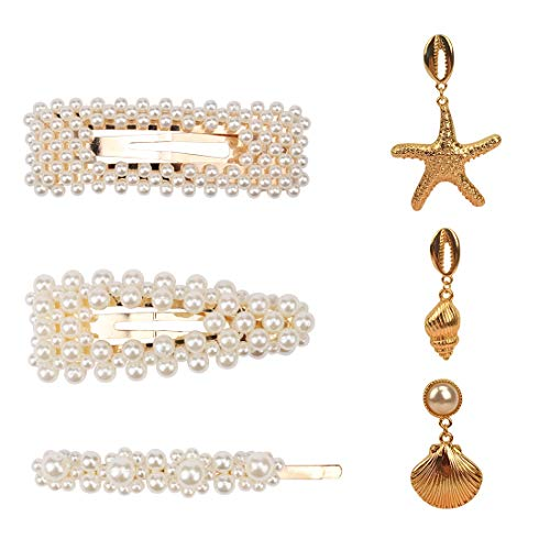 TOBATOBA 3pcs Pearl Hair Clip with 3 Pair Ocean Series Earrings Set,Pearl Hair Barrettes Hair Pins Hair Accessories Fashion Drop Earrings for Women