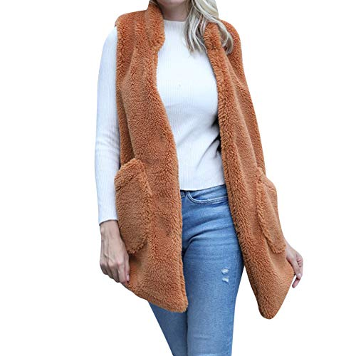ion 2018 Women's Winter Warm Vest Faux Fur Solid Hoodie Sleeveless Waistcoat Outwear Sweater Tops (Brown, 2XL) ()