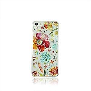 ZMY Flores hermosas del cuero del patrón de venas PC caso duro para el iPhone 5/5S