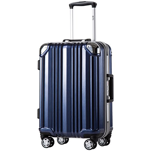 Heavy Duty Luggage - Coolife Luggage Aluminium Frame Suitcase with TSA Lock 100% PC (M(24in), Blue)